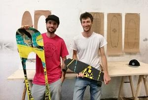 Skateboards and other products made from end-of-life snowboards