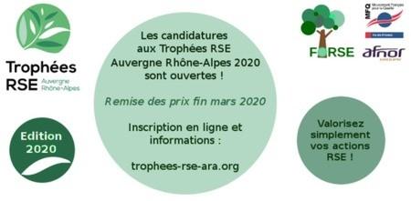 Moins de 30 jours pour candidater aux Trophées RSE Auvergne Rhône-Alpes