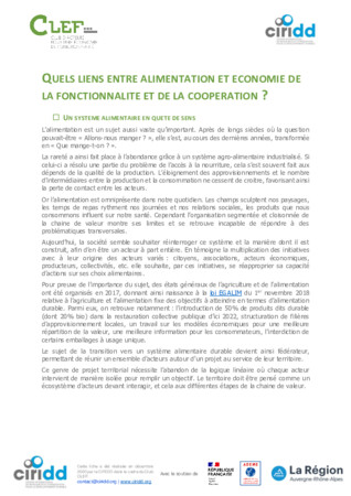 Alimentation et économie de la fonctionnalité et de la coopération