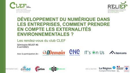 [REPLAY] Les rendez-vous CLEF : Economie de la fonctionnalité, numérique et prise en compte des externalités environnementales